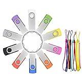 USB Sticks 16GB 10 Stück Speichersticks Einklappbarer Bunt Memory Stick 16 GB 10er Pack DatenSpeicherung Tragbar Günstig Geschenk Pen Drive Mehrfarbige Flash Laufwerk mit 10pcs Bändchen by FEBNISCTE