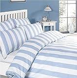 Louisiana Bettwäsche Streifen Bettbezug Set 100% Baumwolle 200 Fadenzahl Blau Weiß Single