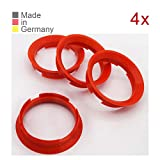 KONIKON 4X Zentrierringe 63,4 x 57,10 mm Rot Felgen Ringe Radnaben Zentrierring Adapterring Ring Felgenring Distanzring Made in Germany