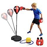 Abree Punchingball Boxen Set mit Boxhandschuhen Pumpe für Kinder Jugend höhenverstellbar von 80 bis 115 cm