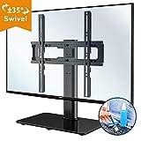 1home Fernsehtisch Tischständer Standfuss TV Ständer LCD/LED/Plasma TVs Schwenkbar Höhenverstellbar für 26-55 Zoll, Max.VESA 400x400, inklusive kostenlosem Reinigungsset