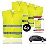 4X Warnwesten EN471 Pannenweste 2020 Unfallweste Pkw Sicherheitsweste Weste Neongelb reflektierend Auto, Pkw, LKW (4X Stück)