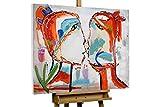 KunstLoft Acryl Gemälde 'EIN Bund fürs Leben' 100x75cm | original handgemalte Leinwand Bilder XXL | Picasso Gesicht abstrakt Rot Bunt | Wandbild Acrylbild Moderne Kunst einteilig mit Rahmen