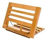 Exerz Kochbuchhalter aus Holz/Lese Kochbuchständer Koch Rezepthalter Buchstütze - Premium Qualität/Einstellbar/Ideal für Bücher, iPads und Tablets -34 x 24 x 2 cm (Holzfarbe New)