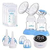 Elektrische Milchpumpe, Eccomum Doppel Milchpumpe Stillpumpe mit 4 Modi und 9 Stufen, Voll-Touchscreen-LED-Anzeige, Speicher-Funktion, starke Saugkraft, BPA-frei, schmerzfrei
