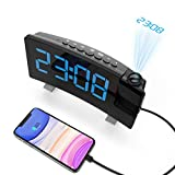 Senli Radiowecker mit Projektion, Projektionsuhr, Dual-Alarm, 4 Alarmtöne mit 3 Lautstärke, 15 FM Radiosender, USB-Anschluss, 6 Display-/4 Projektionshelligkeit, Snooze