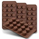 homEdge Mini-Schokoladenform, 15 Mulden, Set mit 4 Stück, antihaftbeschichtet, lebensmittelechtes Silikon, für Süßigkeiten, Keto, Fat Bomb, Schokolade, Erdnussbutter