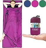 MIQIO 2in1 Hüttenschlafsack mit durchgängigem Reißverschluss (Links/rechts): Leichter Komfort Reiseschlafsack + XL Reisedecke in Einem - Sommer Schlafsack Innenschlafsack Inlett Inlay - Roseviolett