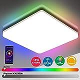 Oeegoo Wifi LED Deckenleuchte Dimmbar, Smart LED Deckenlampe RGB Farbwechsel, 15W LED Dekcenleuhte Alexa, Google Home kompatibel, App- / Sprachsteuerung, IP54 wasserdichte Badlampe Wohnzimmerlampe