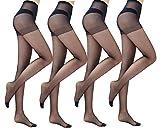 Yulaixuan-Strumpfhose für Damen 4 Paare Steuerung oben Strümpfe 15 Denier-Strumpfhosen in voller Länge, verstärkte Gamaschen (4 schwarz)