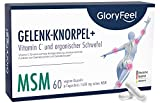 Gelenk-Knorpel+* MSM plus natürliches Vitamin C (Acerola) - 60 vegane Kapseln - 1.600mg MSM plus 12mg Vitamin C Natürlich pro Tagesdosis - Laborgeprüft ohne Zusätze hergestellt in Deutschland