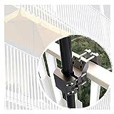 KD-TECH Sonnenschirmhalter für Balkongeländer rund eckig Sonnenschirmständer für Schirme (Anthrazit) aus Aluminium