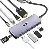 USB C Hub,ICZI Aluminum USB C Adapter 10-in-1 mit HDMI 4K,VGA 1080P,4 USB 3.0,RJ45 Gigabit Ethernet,Type C PD 100W,SD/TF Kartenleser Thunderbolt 3 Dockstaion für MacBook Pro/Air und mehr Type C Geräte