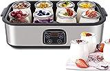 MVPower Elektrischer Joghurtbereiter mit LCD-Display, regelbarer Thermostat und Timer, 8 Töpfe Joghurt zum Trinken von frischen Käse, Creme, Dessert, 30 W