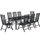 ArtLife Aluminium Gartengarnitur Milano | Gartenmöbel Set mit Tisch und 8 Stühlen | dunkel-grau mit schwarzer Kunstfaser | Alu Sitzgruppe Balkonmöbel