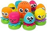 TOMY Wasserspiel für Kinder 'Okto Plantschis' Mehrfarbig, Hochwertiges Kleinkinderspielzeug, Spielzeug für die Badewanne, Babyspielzeug ab 1 Jahr, Geschenke für Babys, Badewannenspielzeug