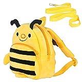Kinder Rucksack Kindergartentasche mit Verlorenem Sicherheitsgurt Kindergarten-Rucksack Kids-Backpack Einsteigerrucksack Kinder Tasche für Baby Jungen Mädchen 1-3 Jahre (Biene)