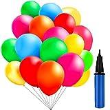 TedGem 100 Stück Luftballons und 1 Ballonpumpe, Ballon und Luftpumpe, Ballonpumpe, Luftballon, Partyballon, Farbige Ballons, Bunte Ballons für Geburtstagsfeiern,Party,Hochzeitsfeiern (Bunt)