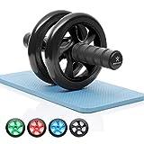 BODYMATE AB Roller Classic, Bauchtrainer zur Stärkung der Core-Muskulatur, Fitnessgerät für Zuhause, Bauchmuskeltrainer inkl. Kniepad, 28 x 16 cm (L x Ø), in Schwarz
