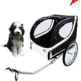 JOM Fahrradanhänger Hundeanhänger Lastenanhänger Tier Anhänger Fahrrad Hunde schwarz Weiss incl. Regenschutz