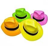 Novelty Place [Partystars Neon Fedora Partyhüte aus Kunststoff - Gangster Style & UV Schwarzlicht Glow - für Kinder und Erwachsene (24er Pack)