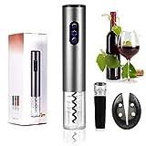 Smaier Elektrischer Flaschenöffner, Edelstahl Korkenzieher , Batteriebetrieben Weinflaschenöffner ,mit Folienschneider, Silberfarben
