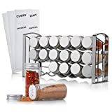 TASTRA® Gewürzregal mit 18 Gewürzgläsern - Stabiler, praktischer Gewürzständer -Gewürzaufbewahrung - inkl. Gewürzetiketten - Silber
