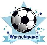 Samunshi® Fussball Wandtattoo Türschild mit Name personalisierbar Kinderzimmer Türaufkleber Baby Wandaufkleber in 9 Größen (25x22cm Mehrfarbig)