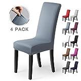 Stuhlhussen Stretch-Stuhlbezug elastische moderne Husse Elasthan Stretchhusse Stuhlbezug Stuhlüberzug . bi-elastic Spannbezug, sehr pflegeleicht und langlebig Universal (Packung von 4,Nebel-Blau)