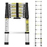 Hengda 3,2M Teleskopleiter, Alu Leiter Rutschfester, Ausziehbar Klappleiter Stehleiter, Ausziehleiter Mehrzweckleiter, 150 kg Belastbarkeit