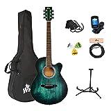 Winzz Akustikgitarre Blau-grün, Westerngitarre 40 Zoll, Gitarre Anfänger Set mit Gitarre Tonabnehmer, Gitarrenständer, Gitarren Plektrum, Gitarrengurt, Gitarrenstimmgerät, Gitarrentasche