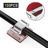 JIRVY 100 Stück Kabelclips Selbstklebend Ttransparent, Kabelhalterr Kabelmanagemen für Haus Schreibtisch Büro, Auto, PC. Anbringen an Wand oder Schreibtisch