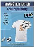 PPD A4 x 20 Blatt Inkjet PREMIUM T-Shirt Transferpapier Transferfolie Bügelfolie für Tintenstrahldrucker und helle Textilien PPD-1-20