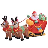 Aufblasbarer Weihnachtsmann mit Schlitten LED Beleuchtet Rentiere Weihnachten Santa Claus Deko Weihnachtsdeko Figur 180cm