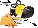 WELDINGER Aktionsset Schweißinverter E 181 eco, Automatik-Schweißhelm, Elektrodensortiment, Schlackehammer, Handschuhe