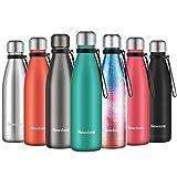 Newdora Trinkflashe Vacuum Isolierte Wasserflasche & Vacuum Flask - 500 ml, 12 Stunden heiß / 24 Stunden kalt, doppelwandiger 18/8-Edelstahl für Kinder, Sport und Outdoor mit Reinigungsbürste