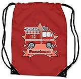 Samunshi® Turnbeutel mit Feuerwehr-Auto und Name für Jungen und Mädchen personalisierbar personalisiert mit Namen Sportbeutel für Schule Sport Sporttasche rot