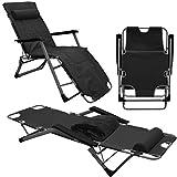 AMANKA Liegestuhl mit Auflage und Kopfkissen - 178cm Gartenliege Campingliege Sonnenliege (Schwarz)