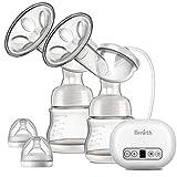 Bimirth Elektrische Doppel-Milchpumpe, 2 Modi/14 Saugstufen für Schnelles und Komfortable Abpumpen Muttermilch, Komfort-Brustpumpe mit Massage, Rückflussverhütung, BPA-frei