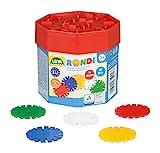 Lena Steckspiel Rondi 45 in Baudose, 55 Teile in bunten Farben, ca. 45 mm, Konstruktionsspielzeug mit Steckteilen, Mehrfarbig