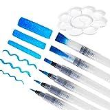 YOTINO 6 Stück Wasserpinsel Aquarell Stift Pinsel mit Befüllbarer Wassertank Perfekt für Wasserfarben, Aquarellstifte, Pinselstifte, Marker mit Tray Mischpalette in Blumenform
