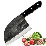 Promithi Handgemacht Chinesisches Kochmesser Serbisch Metzgermesser Ausbeinmesser Santokumesser Fleischmesser Schälmesser Allzweckmesser Küchenmesser Hackmesser für Hackbeil-Zerhacker