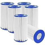 com-four® 6X original Filterkartuschen der Größe 3 (Typ A/C) - Filter universell passend für Swimming-Pool-Pumpen (Größe 3-6 Stück)