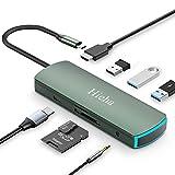 Hieha USB C Hub 8 in 1 Typ C Dockingstation mit 4K HDMI,3X USB3.0,PD Ladeanschluss,SD/TF Kartenleser und Audio,USB C Adapter für MacBook Ipad Samsung Huawei und More Type C Geräte