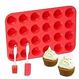 DSTong Muffinblech aus Silikon für 24 Mini Muffins und 1 X Spatel,Silikon Muffinform für Cupcakes, Brownies, Kuchen, Pudding - Antihaft & Leicht zu Reinigen (24Cavity/1pack-red)