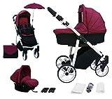 Skyline 3in1 Kombi Kinderwagen mit einem Aluminium Gestell, Babywanne, Sport Buggyaufsatz und Babyschale (ISOFIX) (Rubin)