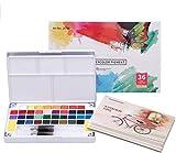 LAOYE Aquarellfarben Set, 36 Wasserfarben Set mit 12 Aquarellpapier, 2 Wassertankpinsel und Zubehör, Aquarell Farbkasten mit 62 Teiligen