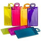 TravelMore 7er-Pack Gepäckanhänger Kofferanhänger mit Adressschild, Silikon-Kofferanhänger Luggage Tag zur Identifizierung von Tasche, Koffer und Gepäck auf Reisen - 7 Stück Bag Tags -Set mit Farben