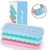 EZILIF Eiswürfelform Silikon mit Deckel 24-Fach 3er Pack, Eiswürfelformen Mit Deckel Ice Cube Tray LFGB Zertifiziert Eiswürfelschalen BPA Frei Eiswürfel einfach Herauszunehmen Blau/Pink/Grün