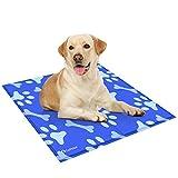 GoPetee Kühlmatte für Hunde Kühlkissen zur Abkühlung in der Sommerhitze Tiere Kühldecke geeignet für Zuhause unterwegs oder im Auto (XL, Knochen hellblau)